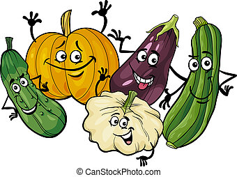 cucurbit vegetables group cartoon illustration - Cartoon...