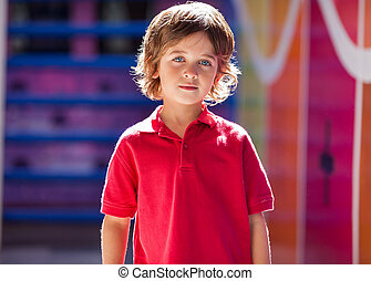 Boy In Casuals At Preschool - Portrait of cute little boy in...