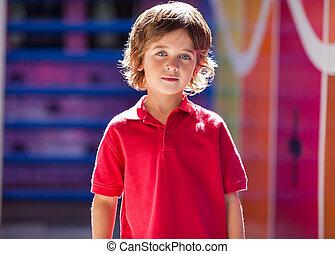 Boy In Casuals At Preschool - Portrait of cute little boy in...