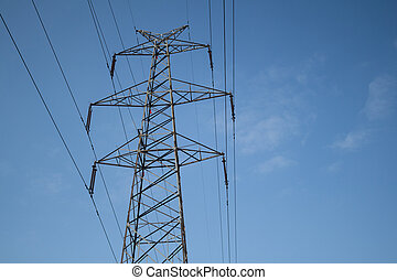 High voltage towers - Electricity transmission high voltage...