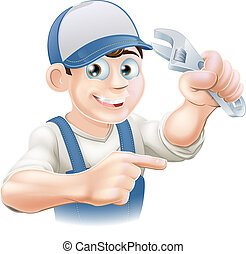 Mechanic or Plumber Illustration - An illustration of a...