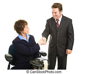 Court Reporter and Attorney Handshake - Attorney greeting...