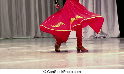 Asian dance - Dancer in red dress performing national dance....