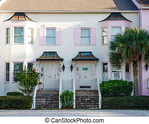 Side by Side Condos - Pink Coastal condos side by side with...