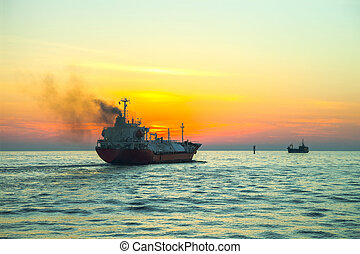 LPG Tanker - Seascape - LPG Tanker ship at sunrise.