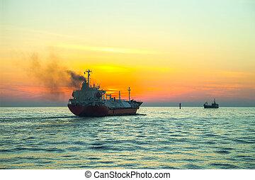 LPG Tanker - Seascape - LPG Tanker ship at sunrise.
