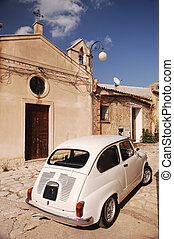 Classic Fiat 500 In Front Of A Church - Ckassic Fiat 500 In...