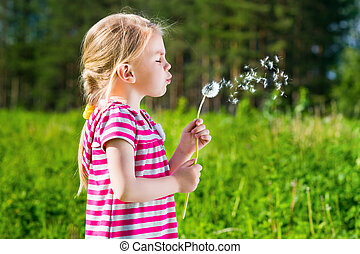 Cute blond little girl blowing a dandelion and making a wish