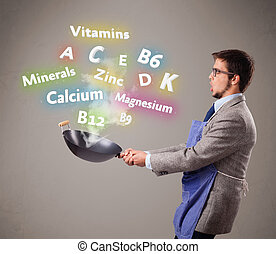Man cooking vitamins and minerals