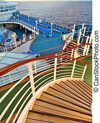 Cruise deck - Views of a cruise ship deck from a winding...