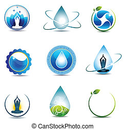 Nature and health care symbols. Isolated on a white...