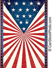 Poster of us flag. - American flag in the background of this...