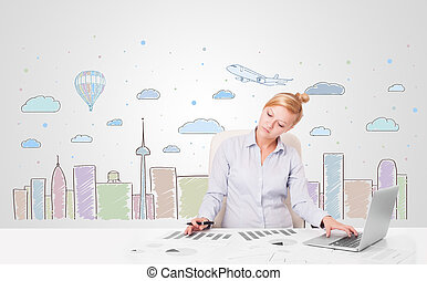 Pretty businesswoman with colorful city sky-scape background...