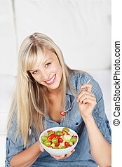 Healthy eating - Happy beautiful young woman full of...