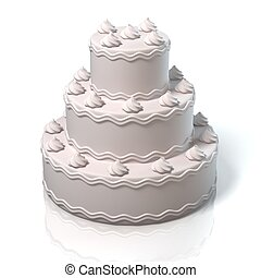 white cake 3d illustration