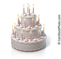 birthday cake, anniversary cake  3d illustration