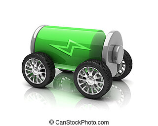 electric car   - electric car 3d concept  3d illustration