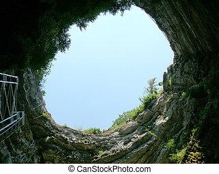 Gouffre de Padirac - the entrance to a 20km cave system....
