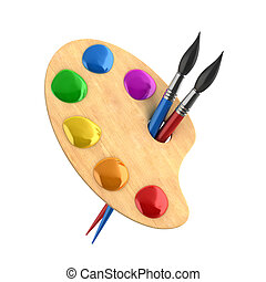 wooden art palette with paints and brushes 3d illustration