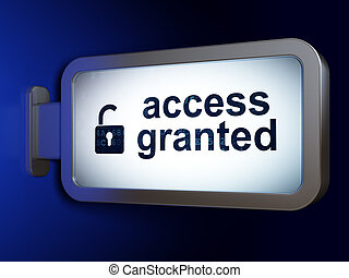 Protection concept: Access Granted and Opened Padlock on...