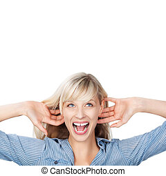 Shouting woman - Portrait of woman holding her ear while...