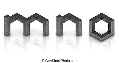 cubical 3d font letters m n o  3d illustration