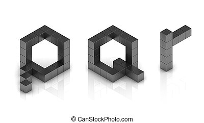 cubical 3d font letters p q r  3d illustration