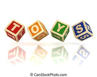 brinquedos, madeira, blocos