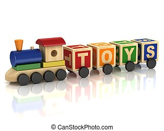 Wooden train toy with colorful letter blocks 3d illustration...