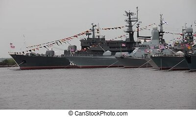 parade of warships - Navy Parade In Kronshtadt City, Russia...