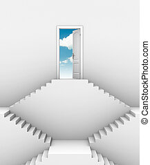 door at top of stairs - opportunity on higher level 3d...