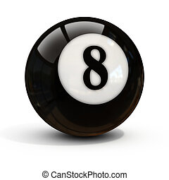 eight ball isolated on white 3d illustration