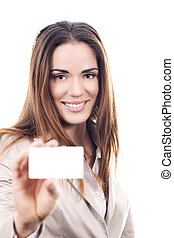 business woman handing a blank business card in studio