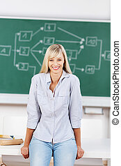 Smiling female in classroom