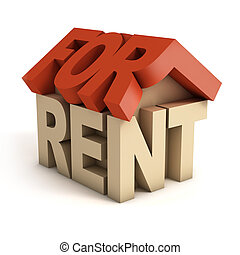 house for rent 3d icon illustration