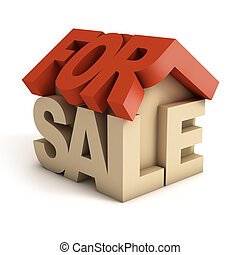 house for sale 3d icon illustration