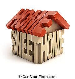 home sweet home 3d letters illustration
