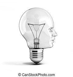 human head light bulb