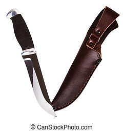 Hunting knife - New hunting knife and scabbard isolated on...