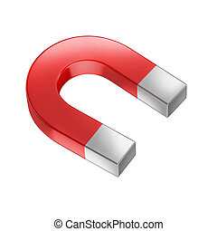 horseshoe magnet isolated on white 3d illustration