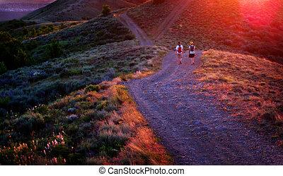 Girls Hiking on Trail