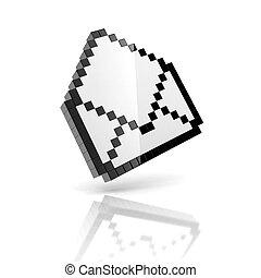 e-mail 3d icon - pixelated envelope