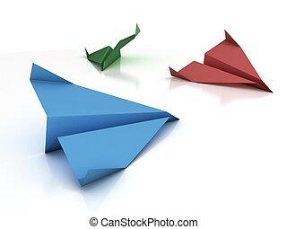 paper plane -   paper plane  3d illustration
