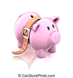 piggy bank with tighten belt 3d illustration