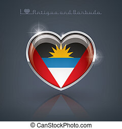 Antigua and Barbuda - Glossy heart shape flags of the...