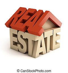 real estate 3d icon - real, concept, market, loan, isolated,...