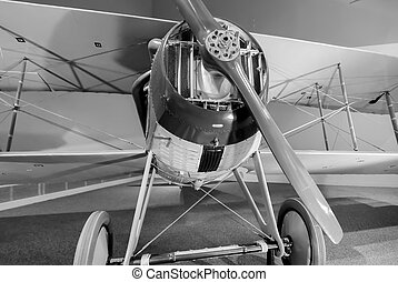 old plane on display - old plane with radial engine on...