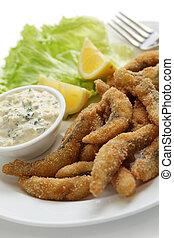 homemade fried fish fingers - chinchard en goujonnettes,...
