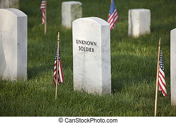 Gravestone of an unknown soldier in Arlington National...