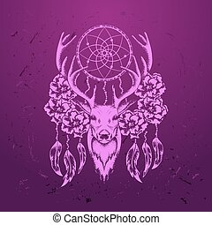 Deer with flowers and dream catcher